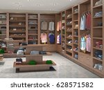 shop with beautiful clothes  3d ... | Shutterstock . vector #628571582