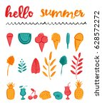 set of bright summer icons for...   Shutterstock .eps vector #628572272