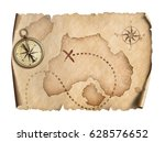 old world map with compass... | Shutterstock . vector #628576652