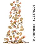 euro coins money rain falling... | Shutterstock . vector #628578206