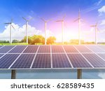 wind turbines and solar panels... | Shutterstock . vector #628589435