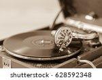 old vintage record player vinyl ... | Shutterstock . vector #628592348