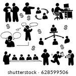 human working office set | Shutterstock .eps vector #628599506