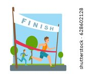 man reaches finish  red ribbon  ... | Shutterstock .eps vector #628602128