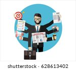 happy businessman with many... | Shutterstock .eps vector #628613402
