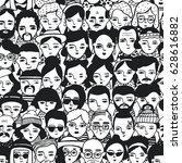 seamless pattern of crowd... | Shutterstock .eps vector #628616882