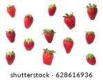 fresh ripe strawberry on white... | Shutterstock . vector #628616936