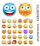 set of cute emoticons on white... | Shutterstock .eps vector #628638752