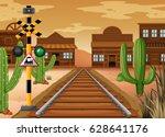 scene with train track in... | Shutterstock .eps vector #628641176