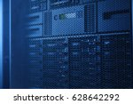 server rack cluster in a data... | Shutterstock . vector #628642292
