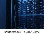 server rack cluster in a data... | Shutterstock . vector #628642592