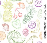 hand drawn graphic fruits.... | Shutterstock .eps vector #628642766