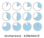 blue clock  sixty minutes or... | Shutterstock .eps vector #628646615