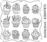 doodle set of cupcakes. hand... | Shutterstock .eps vector #628647872