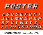 poster 3d font numbers and... | Shutterstock .eps vector #628653296