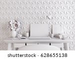 white modern room with  laptop... | Shutterstock . vector #628655138