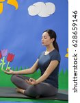 young woman doing yoga in... | Shutterstock . vector #628659146