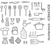 kitchenware icons vector set.... | Shutterstock .eps vector #628662428