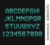 pixel font. retro alphabet for... | Shutterstock .eps vector #628665152
