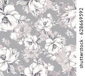 seamless pattern of graceful... | Shutterstock . vector #628669592