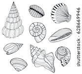 Hand Drawn Decorative Seashell...