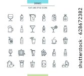 drinks thin line icons set....   Shutterstock .eps vector #628672382