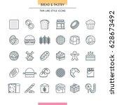 bread and dessert thin line... | Shutterstock .eps vector #628673492