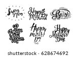 set of inscription happy mother'... | Shutterstock .eps vector #628674692