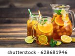 ice tea with lemon  lime and... | Shutterstock . vector #628681946
