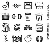 health  diet  objects  icons... | Shutterstock .eps vector #628683422