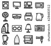 objects  icons set   cartoon... | Shutterstock .eps vector #628683512