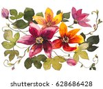 water lily batik on a white... | Shutterstock . vector #628686428