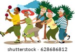 group of active seniors led by... | Shutterstock .eps vector #628686812