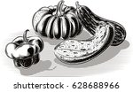 composition of pumpkins. | Shutterstock .eps vector #628688966