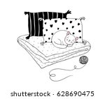 Stock vector beautiful pillows and cat on a white background hand drawn vector 628690475
