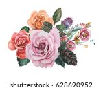 hand painted watercolor... | Shutterstock . vector #628690952