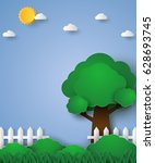 tree in green field with fence  ...   Shutterstock .eps vector #628693745