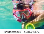 funny child wearing diver mask... | Shutterstock . vector #628697372