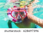 funny child wearing diver mask... | Shutterstock . vector #628697396
