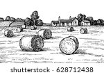 rural landscape with hay bales. ... | Shutterstock .eps vector #628712438