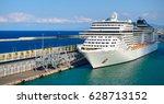 luxury cruise ship in port.   Shutterstock . vector #628713152