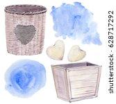 watercolor vintage objects set. ... | Shutterstock . vector #628717292