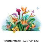 floral bouquet with strelitzia... | Shutterstock .eps vector #628734122