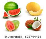 collection of fruit and berries.... | Shutterstock .eps vector #628744496