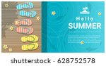 hello summer background with... | Shutterstock .eps vector #628752578