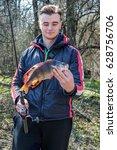 a fisherman caught a big bass... | Shutterstock . vector #628756706