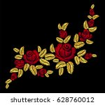 golden embroidery red rose.... | Shutterstock .eps vector #628760012
