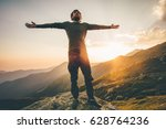 traveler man raised hands at... | Shutterstock . vector #628764236