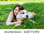beautiful young girl with her... | Shutterstock . vector #628771592