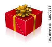 red present box with golden... | Shutterstock .eps vector #62877355